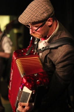 Leigh Delamere on the accordion, wedding, Penzance, Cornwall