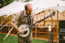 Heston Frankley on the banjo, Wedding, Old Rectory, Pyworthy, Devon