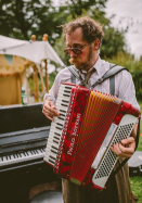 Leigh Delamere on the accordion, Wedding, Old Rectory, Pyworthy, Devon