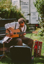 Leigh Delamere on the guitar, Wedding, Old Rectory, Pyworthy, Devon